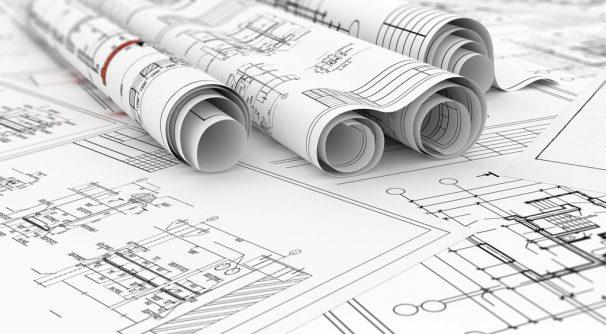 construction blueprints in rolls 3d illustration
